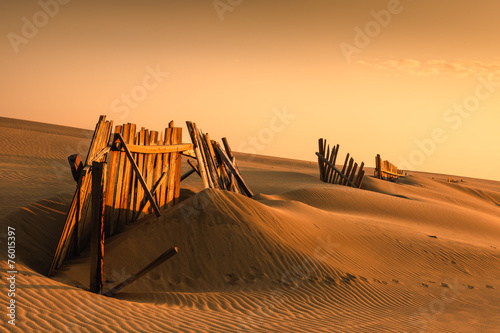 Fototapeta Fences in the sand