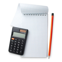Calculator, pencil and notebook on white background with path