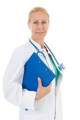 Physician with blue clipboard