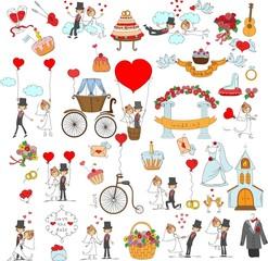 Каракули набор свадьба за приглашение карточек дизайн
