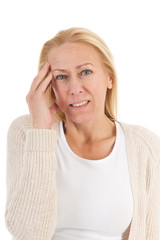 Woman of mature age with headache