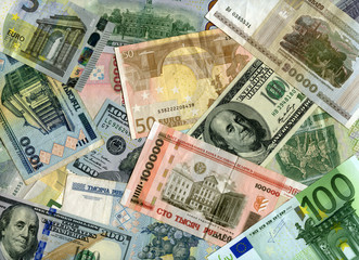 Background. Euro banknotes, US dollars and Belarus currency (rub