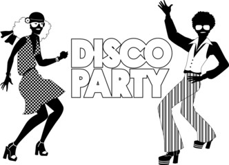 Disco party black silhouette banner