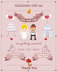 Свадебные приглашения карты с шаблон элемента жениха и невесты