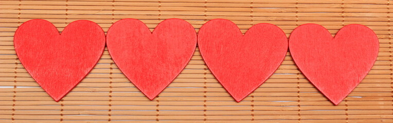Red hearts for valentines day