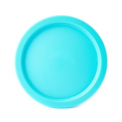 Blue round plastic cap isolated