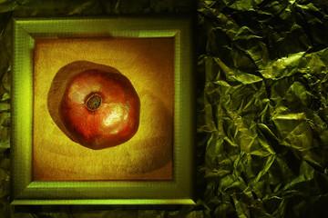 Pomegranate on vintage background