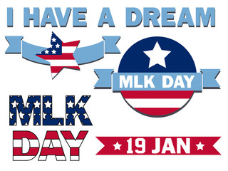 set of icons for the Martin Luther King Day