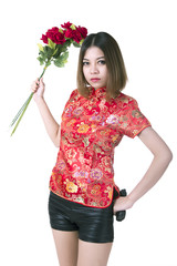 Beautiful woman with gun and flower