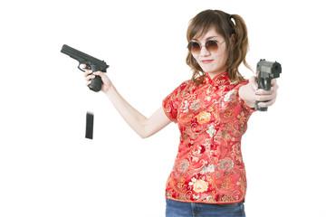 Beautiful woman with guns