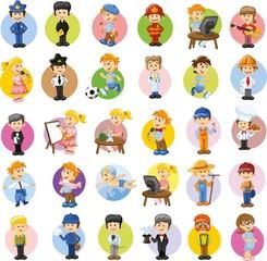 Векторный набор героев мультфильмов разных профессий