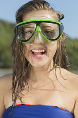 Young teens with diving mask