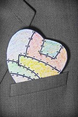 painted heart paper in a pocket men's jackets