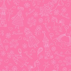 Vector pattern with symbols of little princess on pink color