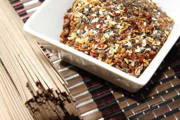 japanese seven spice mixture with buckwheat noodles