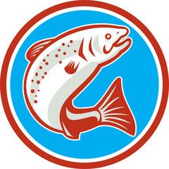 Trout Fish Jumping Circle Retro