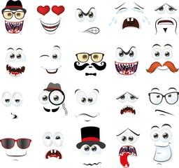 Векторный набор чертежей различных изолированных лицах людей