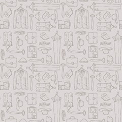 Vector pattern with objects of men's wardrobe on beige color