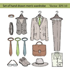 Vector set of hand drawn men's wardrobe icons