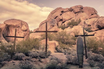 Crosses in desert landscape,Arizona