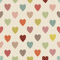 Abstract seamless polka dot pattern with colorful heart