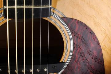 Beautiful sheet music notes reflection on guitar body