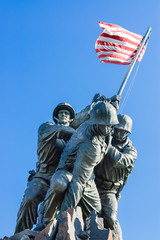 close view of Iwo Jima Memorial