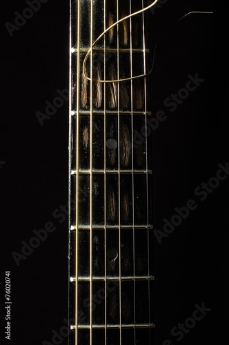 Leinwanddruck Bild Acoustic 6 string guitar fretboard isolated on the black
