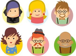 Набор милые значки аватары