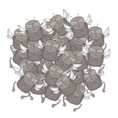 Many fly vector draw