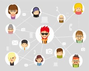 Вектор инфографики людей, связи с различными гаджетами