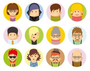 Набор векторных аватары иконок в плоском исполнении