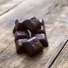 chocolate on old wooden plank