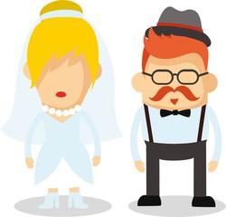 Векторная иллюстрация свадьбы пара в плоском исполнении