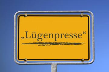 Ortsschild, Unwort 2014, Lügenpresse