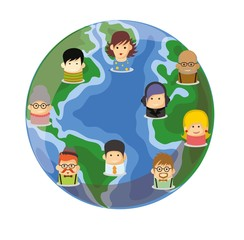 Набор милые значки аватары на земном шаре