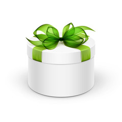 White Round Gift Box with Green Ribbon and Bow