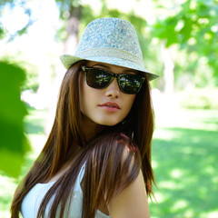 young beautiful lady outdoor portrait, girl in summer park  in s