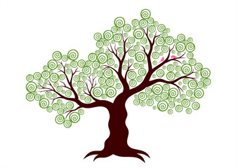 Vector illustration of abstract tree on white background