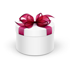 White Round Gift Box with Red Ribbon and Bow