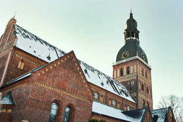 Roof Dome Cathedral in Riga, Latvia in winter