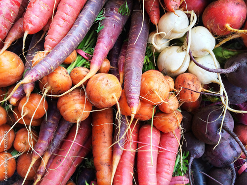 Fotobehang Aromatische Colorful root vegetables