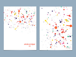 Vector background with watercolor colored drops.