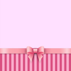 Striped background with children's pink bow