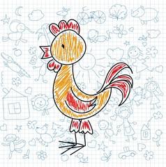 Детские рисунки каракули петуха