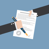 Vector agreement icon - hand signing contract on white paper - 76023960