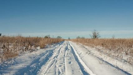 DOLLY MOTION: Rural road through winter field