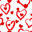 Seamless hand drawn heart red and white pattern