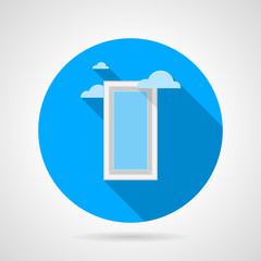 Flat vector icon for window with clouds