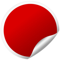 red round sticker with shadow